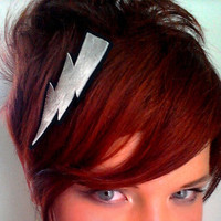 Lightning Bolt Hair Clip Metallic Silver Leather by sewZinski