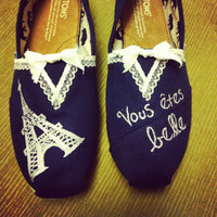 Women&#x27;s French Lace Paris Toms Shoes by specklesofpaint on Etsy
