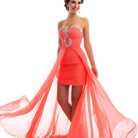 Mac Duggal Prom 2013 - Strapless Coral Chiffon Gown - Unique Vintage - Cocktail, Pinup, Holiday & Prom Dresses.