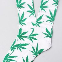 HUF The Plantlife Socks in White & Green: Clothing