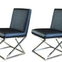 One Kings Lane - Pangea - Black Vertigo Dining Chairs, Pair