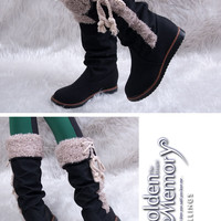 Stylish and Lovely Style Fur Trimming and Lace Embellished Half Boots For Women China Wholesale - Sammydress.com