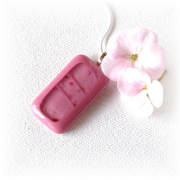 Dusty Rose Fused Glass Pendant Necklace  by GreenhouseGlassworks