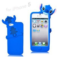 Amazon.com: Disney Stitch Hide and Seek Silicone Case Cover for Iphone 5 - Blue: Cell Phones & Accessories