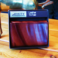 deadstock Amity cowhide tri fold mens leather wallet. unused mens vintage wallet