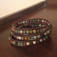 Jasper Beaded Leather Wrap Bracelet