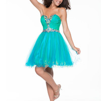 Blue & Green Sequined Tulle Strapless Sweetheart Short Prom Dress - Unique Vintage - Cocktail, Pinup, Holiday & Prom Dresses.