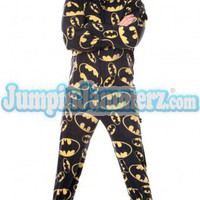 BATMAN 01 - Warner Bros. - Pajamas Footie PJs Onesuits One Piece Adult Pajamas - JumpinJammerz.com