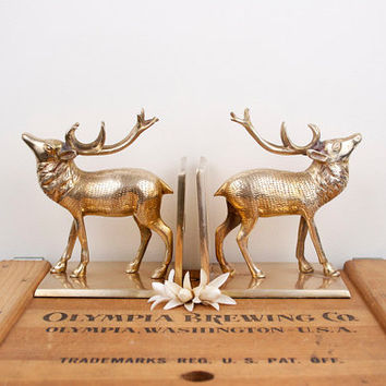 Vintage brass deer stag bookends from beautifulline on etsy - Stag book ends ...