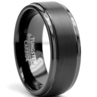 8MM Black High Polish / Matte Finish Men's Tungsten Ring Wedding Band Size 11.5