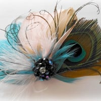 Wedding Feather Hair Accessory, Feather Fascinator, Bridal, Hair Piece, Peacock, Peach, Teal, Gold, Apricot, Hair Clip