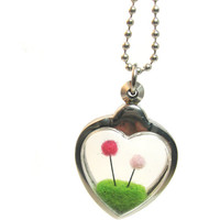 Terrarium Lorax Pendant, Pom Pom Truffula Tree on Green Grass Hill Needle Felted, Silver Finish Dr Seuss Fun Gift Idea