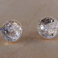 Raw Herkimer Diamond Crystal Studs Silver