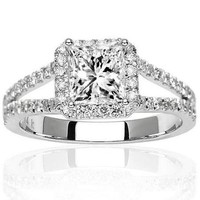 1 1/2 Carat Halo Style Double Row Pave Set Diamond Engagement Ring with a 1.03 Carat J- SI1-SI2 Cen