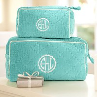 Quilted Velvet Beauty Cases &amp;ndash; Pool