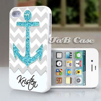 Nautical Glitter Anchor Personalized iPhone 5 or iPhone by TaBCase