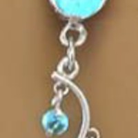 Aqua Lt Blue 4 Gem Unique Vine Dangle Belly button Navel Ring 14 gauge