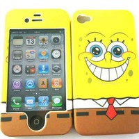 Designer SpongeBob Squarepants Disney Cartoon iphone 4 4G 4S Case Full Cover Front and Back
