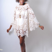 boho BELL SLEEVE 70s style ivory lace patchwork sheer hippie mini dress