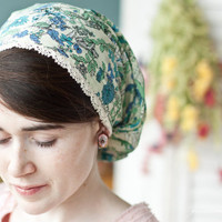 Cotton lace and Juniper flowers victorian snood headcovering veil hair scarf in blue