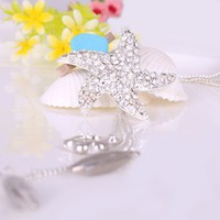 Fashion Silver Tone Full Rhinestone Starfish Tassels Pendant Long Chain Necklace at Online Fashion Jewelry Store Gofavor