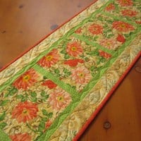 Quilted Table Runner Peach Floral