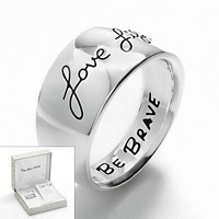 Silver Plate Love Life Band Ring