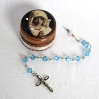 March Birthstone Rosary Set Pocket Rosary with Decorated Wood Box Aquamarine Crystal Rosary Birthday Rosary with Box Virgin Mary