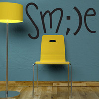 "Wall Decal Quote Text Vinyl Sticker Home Decor  Art Mural "" SMILE  "" 16.5"" x 31.5"""