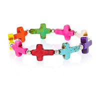Red multicoloured cross bracelet