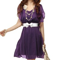 Allegra K Women Scoop Neck Elastic Waist Chiffon Dress Dark Purple XS
