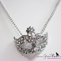 Super Junior Inspired Opera Mask Necklace in Silver from GlamPuss // ON SALE till 5th Jan 2013