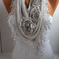 Light Gray Cotton Shawl/ Scarf - Headband -Cowl with Lace Edge - Spring Trends