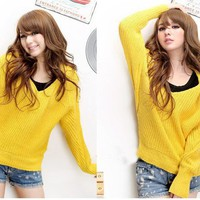 Autumn New Arrived Mix Match V-Neck Slipover Bat-Wing Long Sleeves Hooded Sweater For Women China Wholesale - Sammydress.com
