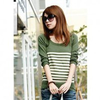 Autumn Korean Style Chic Mix Match Round Neckline Pinstriped Long Sleeves Knitwear For Women China Wholesale - Sammydress.com