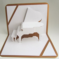 $15.00 Pop Up Home D?cor 3D GRAND PIANO Greeting Card by BoldFolds
