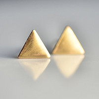 Brass Triangle Post Earrings