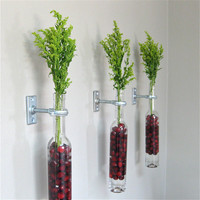 Wine Bottle Wall Flower Vases 2 Hanging by GreatBottlesofFire