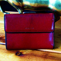 vingate Coach red leather wallet. gift for her. red leather wallet