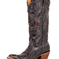 Corral Women's Distressed Black Lizard Inlay Boot - C2108
