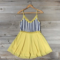 Awning Stripe Dress in Yellow, Sweet Women's Country Clothing