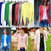 Fashion New Women Irregular Hem Long Sleeve Cardigan Knit Sweater Candy Colors