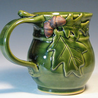 Coffee mug acorn oak leaf holiday decor glazed in by hughespottery