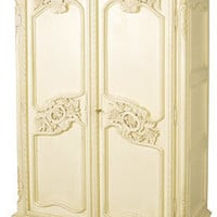 Cream French Carved Armoire - Sweetpea & Willow London