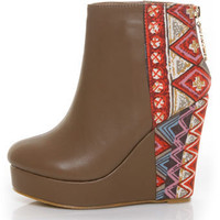 Privileged Moddy Taupe Print Color Block Wedge Ankle Boots - $55.00