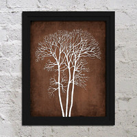 Winter Naked Tree Branch Grunge Background Urban Modern Art Print Poster 8x10 Bedroom Home Decor