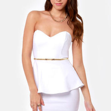 Wishy Posh-y Strapless Ivory Dress