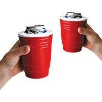 Red Cup Kool Koozie (Set of 2) - Keeps Icey Drinks Cold! Insulated Foam Can Holder