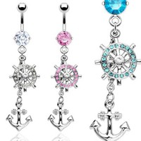 {Pink} 316L Surgical Steel Navel Ring with Gem Paved Ship's Wheel and Anchor Dangle - 14 GA 3/8
