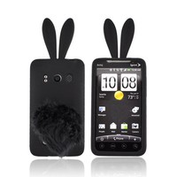 Buy  HTC EVO 4G Silicone Case w/ Fur Tail Stand - Black Bunny Free Shipping AccessoryGeeks